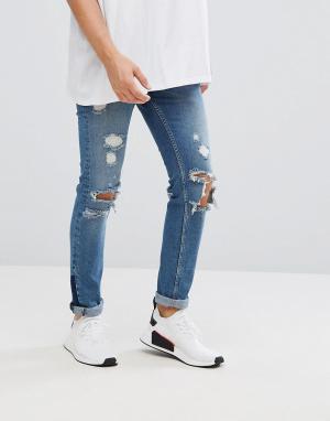 ASOS Синие рваные джинсы скинни с молнией. Цвет: синий