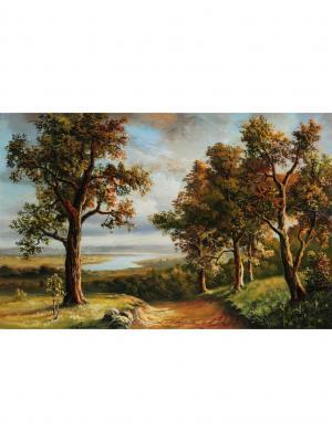 Картина Дерево в осеннем лесу Ecoramka. Цвет: темно-красный, бордовый, светло-коричневый