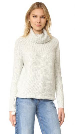 Пуловер с рубчатой кокеткой и завязками Madewell. Цвет: серый
