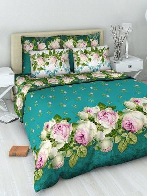 Комплект постельного белья из бязи 1,5 спальный Василиса. Цвет: морская волна, белый, голубой, зеленый, розовый