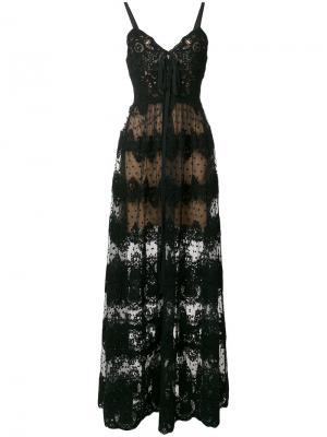 Полупрозрачное кружевное платье Elie Saab. Цвет: чёрный
