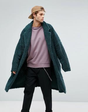 ASOS Длинное оверсайз-пальто из искусственного меха. Цвет: зеленый