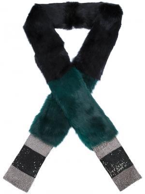 Шарф из кроличьего меха Laura B. Цвет: зелёный