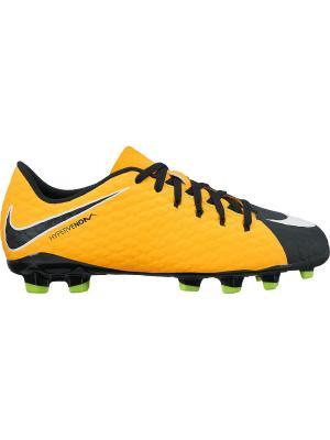 Бутсы JR HYPERVENOM PHELON III FG Nike. Цвет: оранжевый, белый