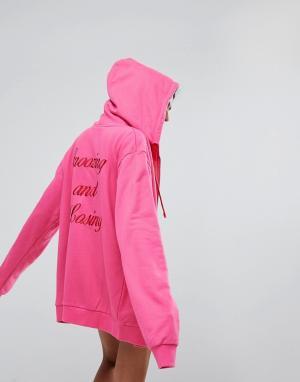 Lazy Oaf Худи на молнии с принтом Snoozing And Losing спине. Цвет: розовый