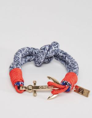 Icon Brand Синий тканый браслет с якорем. Цвет: синий