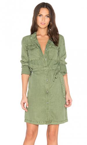 Платье-рубашка army Sanctuary. Цвет: оливковый