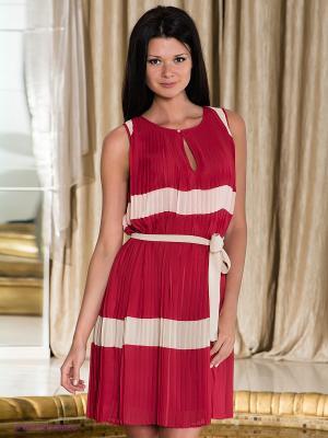 Платье Fairly. Цвет: бордовый, кремовый