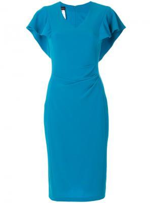 Приталенное платье с расклешенными рукавами Talbot Runhof. Цвет: синий