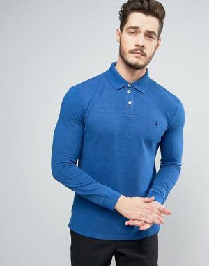 Jack Wills Серая меланжевая футболка-поло с длинными рукавами Staplecr. Цвет: синий