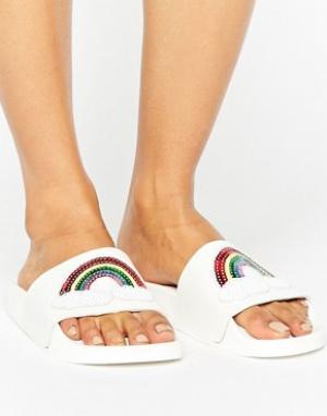 THEWHITEBRAND Белые сандалии с пайетками WhiteBrand. Цвет: мульти