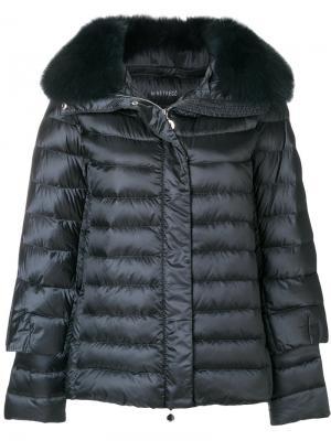Пуховая куртка с меховой оторочкой Hetregò. Цвет: синий