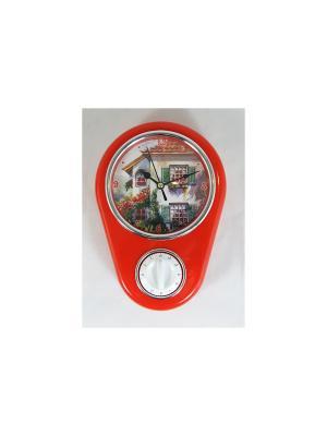 Кухонные настенные часы Дом Magic Home. Цвет: красный, белый