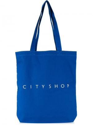 Сумка-тоут с логотипом Cityshop. Цвет: синий