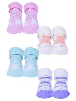 Носки, 4 пары Malerba. Цвет: сиреневый, молочный, розовый
