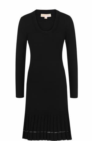 Приталенное платье-миди с длинным рукавом MICHAEL Kors. Цвет: черный
