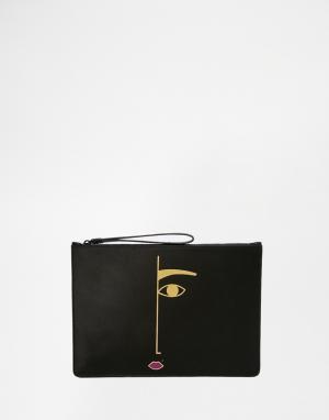Lulu Guinness Клатч Rachel Face. Цвет: черный