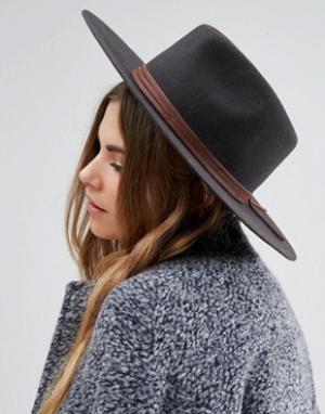 Brixton Мягкая фетровая шляпа с отделкой из натуральной кожи Drover. Цвет: черный