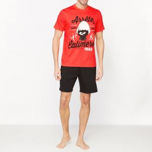 Пижама с шортами рисунком CALIMERO. Цвет: красный/ черный