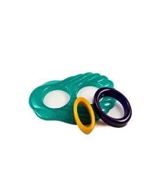 Пряжка Волшебная пуговица Ракушка и кольцо для шарфа madam Пряжкина. Цвет: морская волна, горчичный, темно-фиолетовый