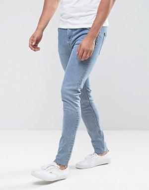 Weekday Выбеленные джинсы скинни. Цвет: синий