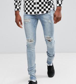 Sixth June Выбеленные обтягивающие джинсы с рваной отделкой TALL. Цвет: синий