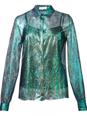 Рубашка с кружевным узором Delpozo. Цвет: синий