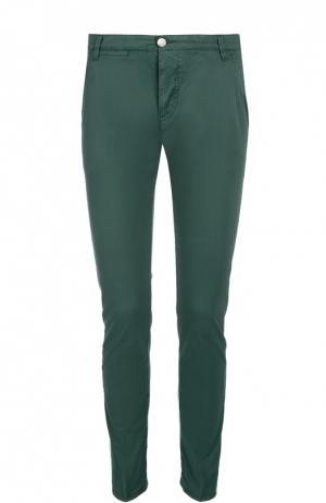 Слаксы из эластичного хлопка 2 Men Jeans. Цвет: темно-зеленый