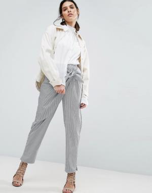 ASOS Широкие брюки в полоску с запахом. Цвет: мульти