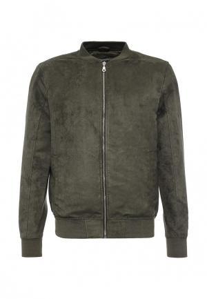 Куртка кожаная Jack & Jones. Цвет: зеленый