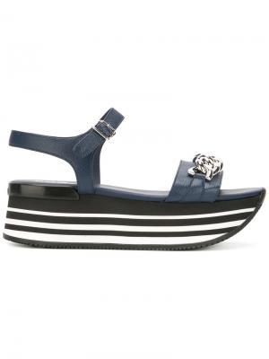 Crystal-embellished sandals Hogan. Цвет: синий