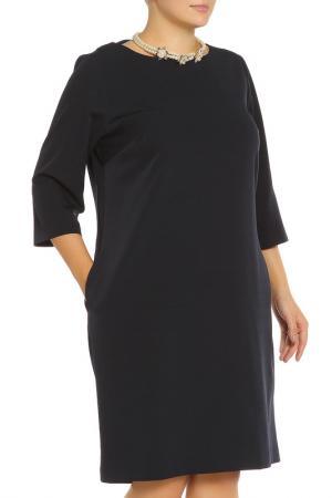 Платье, бусы Piena. Цвет: темно-синий