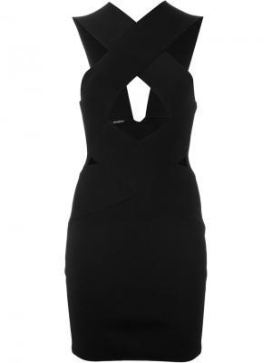 Платье с перекрещивающимися лямками спереди Balmain. Цвет: чёрный