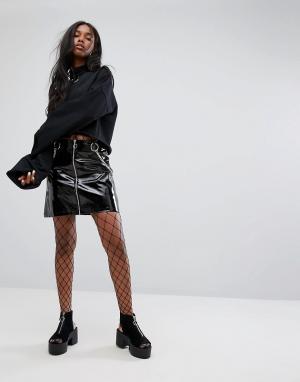 The Ragged Priest Блестящая виниловая мини-юбка на молнии спереди. Цвет: черный