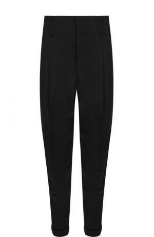 Шерстяные брюки прямого кроя с заниженной линией шага Haider Ackermann. Цвет: черный