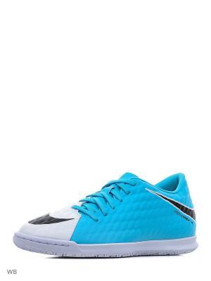 Бутсы HYPERVENOMX PHADE III IC Nike. Цвет: голубой, белый