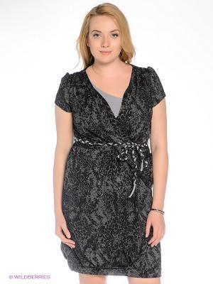 Платье Gemko plus size. Цвет: серый, черный