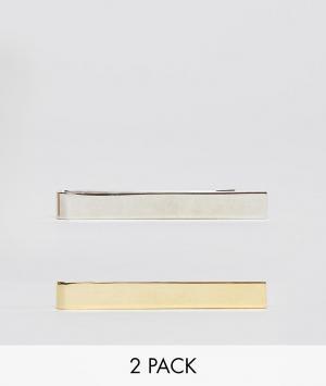 ASOS 2 узких зажима для галстука (серебристый/золотистый). Цвет: мульти