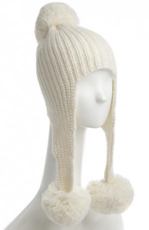 Вязаная шапка с помпонами Tak.Ori. Цвет: белый
