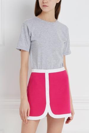 Юбка-мини из шерсти и хлопка Lisa Perry. Цвет: розовый