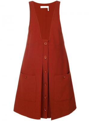Платье-комбинезон с накладными карманами Chloé. Цвет: коричневый