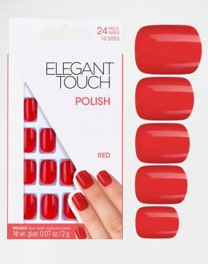 Elegant Touch Квадратные накладные ногти. Цвет: черный