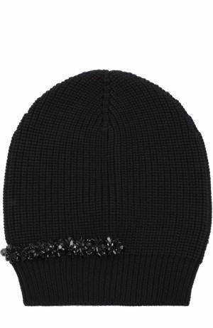 Вязаная шапка из шерсти с декором No. 21. Цвет: черный