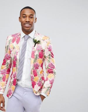 ASOS Розовый приталенный блейзер с цветочным принтом Wedding. Цвет: розовый