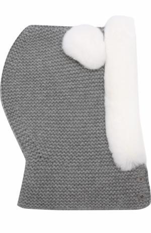 Кашемировая балаклава фактурной вязки с меховой отделкой Loro Piana. Цвет: светло-серый