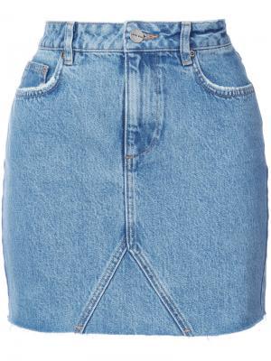 Джинсовая юбка с необработанным краем Anine Bing. Цвет: синий