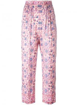 Укороченные брюки с цветочным принтом Masscob. Цвет: розовый и фиолетовый