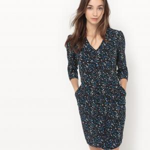 Платье с зернистым рисунком Chloé SUNCOO. Цвет: рисунок синий/черный