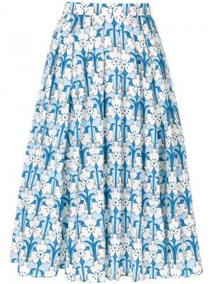 Юбка с цветочным принтом Prada. Цвет: синий