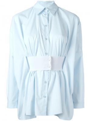 Плиссированная рубашка с поясом Mm6 Maison Margiela. Цвет: синий